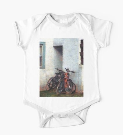 Bicycles in Yard One Piece - Short Sleeve