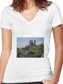 Corfe Castle Women's Fitted V-Neck T-Shirt