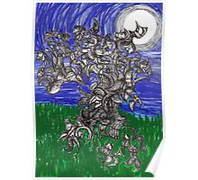 Beach Tree Gathering Under Full Moon Poster