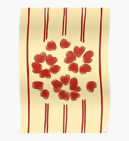 simple japanese flower pattern Poster