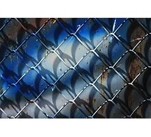 Rusted Fence With Blue Paint Photographic Print