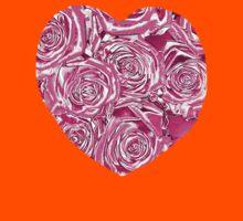 PINK ROSE HEART METALLIC  Kids Tee