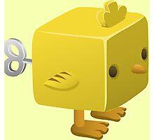 Cubimal chicken - glitch videogame Photographic Print