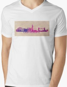 London skyline city  purple Mens V-Neck T-Shirt