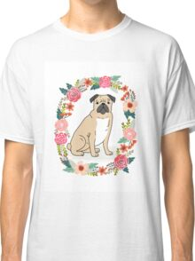 Pug Flower Ring cute florals white minimal drawing pet dog breed pugs puppy Classic T-Shirt
