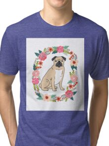 Pug Flower Ring cute florals white minimal drawing pet dog breed pugs puppy Tri-blend T-Shirt