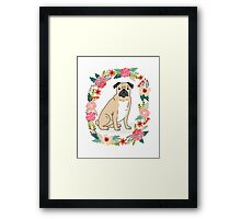 Pug Flower Ring cute florals white minimal drawing pet dog breed pugs puppy Framed Print