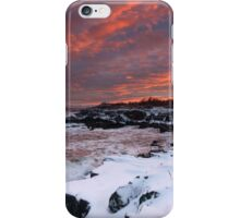 Winter Sunset on the Maine Coast through a snowstorm iPhone Case/Skin