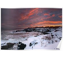 Winter Sunset on the Maine Coast through a snowstorm Poster