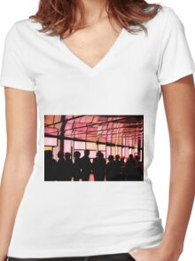 Strawberry Blond Aglow Women's Fitted V-Neck T-Shirt