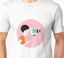 say cheese! retro style woman behind vintage camera Unisex T-Shirt