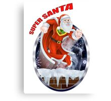 Super Santa flying out of the chimney  Canvas Print
