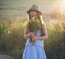 The little girl with flowers by catalinpopro