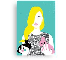 Vogue style woman with two rabbits - gemini horoscope Canvas Print