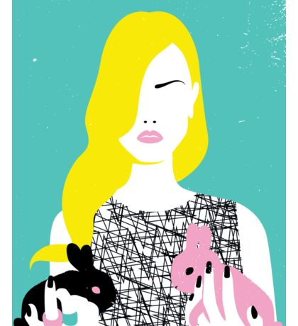 Vogue style woman with two rabbits - gemini horoscope Sticker