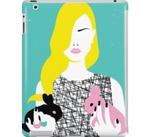 Vogue style woman with two rabbits - gemini horoscope iPad Case/Skin