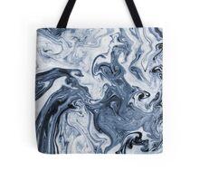 Isao - spilled ink art print marble blue indigo india ink original waves ocean watercolor painting Tote Bag