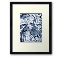 Isao - spilled ink art print marble blue indigo india ink original waves ocean watercolor painting Framed Print