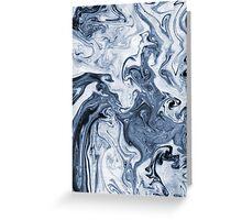 Isao - spilled ink art print marble blue indigo india ink original waves ocean watercolor painting Greeting Card
