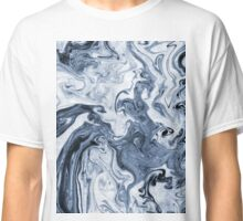 Isao - spilled ink art print marble blue indigo india ink original waves ocean watercolor painting Classic T-Shirt