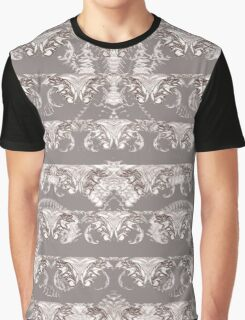 Nocturnal Animal Grey and white Feather double pattern Graphic T-Shirt