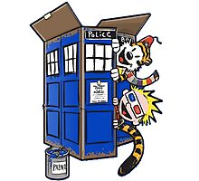 Calvin And Hobbes Tardis dr Who Photographic Print
