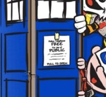 Calvin And Hobbes Tardis dr Who Sticker