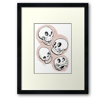 Four Skulls in Pastel Pink Framed Print