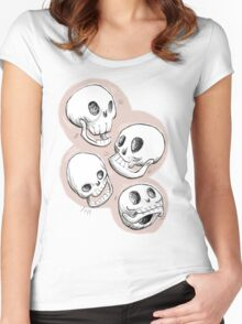 Four Skulls in Pastel Pink Women's Fitted Scoop T-Shirt