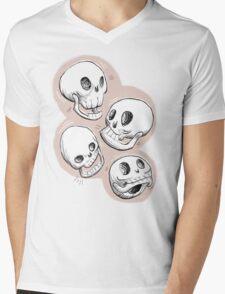 Four Skulls in Pastel Pink Mens V-Neck T-Shirt