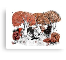 Little Red Riding Hood Print with wolf, forest Canvas Print