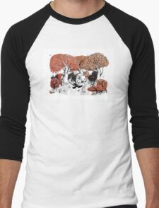 Little Red Riding Hood Print with wolf, forest Men's Baseball ¾ T-Shirt