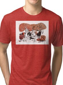 Little Red Riding Hood Print with wolf, forest Tri-blend T-Shirt
