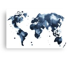 Watercolor map of the world (black and white) Canvas Print