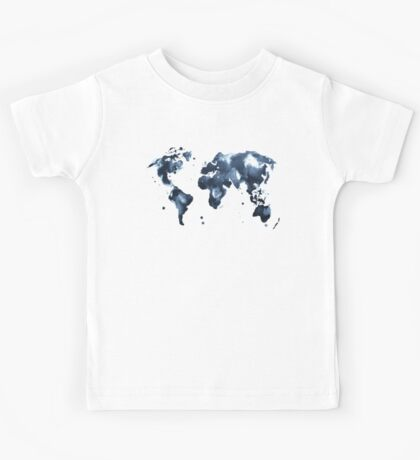 Watercolor map of the world (black and white) Kids Tee