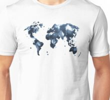 Watercolor map of the world (black and white) Unisex T-Shirt