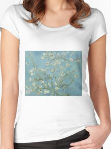 Almond blossom - Vincent Van Gogh  Impressionism  Famous Paintings Women's Fitted Scoop T-Shirt
