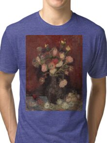 Vincent Van Gogh  - Vase with Chinese asters and gladioli, 1886 Tri-blend T-Shirt