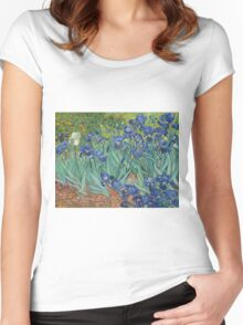 Vincent Van Gogh - Irises.  Van Gogh - Irises Impressionism Flowers 1889 Women's Fitted Scoop T-Shirt
