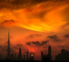 A sunset view of Dubai downtown in a magnificent cloudy evening. by Mehdi Nazarinia