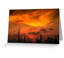 A sunset view of Dubai downtown in a magnificent cloudy evening. Greeting Card