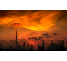 A sunset view of Dubai downtown in a magnificent cloudy evening. Photographic Print
