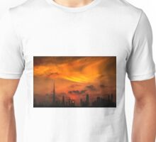 A sunset view of Dubai downtown in a magnificent cloudy evening. Unisex T-Shirt