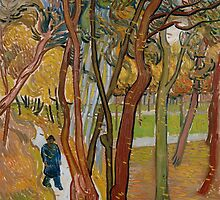 Vincent Van Gogh - The garden of Saint Paul's Hospital, The fall of the leaves October 1889 - 1889 by famousartworks