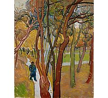 Vincent Van Gogh - The garden of Saint Paul's Hospital, The fall of the leaves October, Impressionism 1889 - 1889 Photographic Print