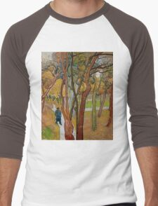 Vincent Van Gogh - The garden of Saint Paul's Hospital, The fall of the leaves October, Impressionism 1889 - 1889 Men's Baseball ¾ T-Shirt