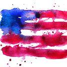 Abstract watercolor flag of the USA by Anastasiia Kucherenko