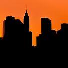 Lower Manhattan Sunset Silhouette by Johannes Valkama