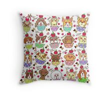 Cupcake Dogs ! Throw Pillow