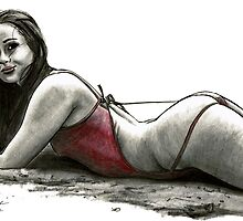 Red String Swimsuit Pin-up by olivercook